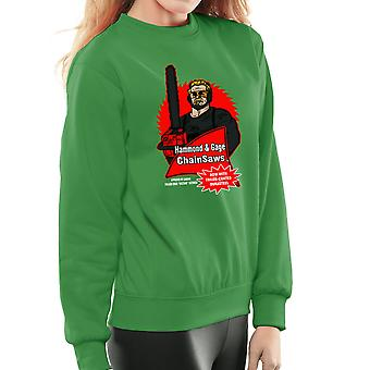 Hammond and Gage Chainsaws Buzzsaw Running Man Women's Sweatshirt