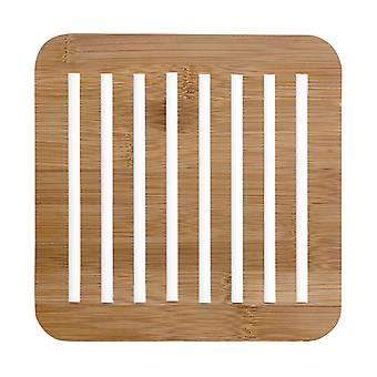 Ladelle Classic Square Bamboo Trivet, White