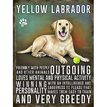 Medium Wall Plaque 200mm x 150mm - Yellow Labrador by The Original Metal Sign Co