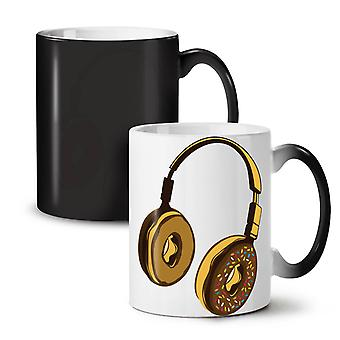 Headset Donut Music Music NEW Black Colour Changing Tea Coffee Ceramic Mug 11 oz | Wellcoda