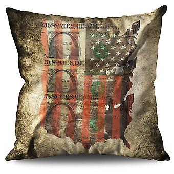 Benjamin Dollar Flag USA Linen Cushion 30cm x 30cm | Wellcoda