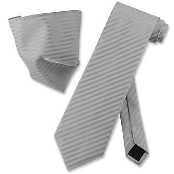 Vesuvio Napoli Striped NeckTie & Handkerchief Matching Neck Tie Set