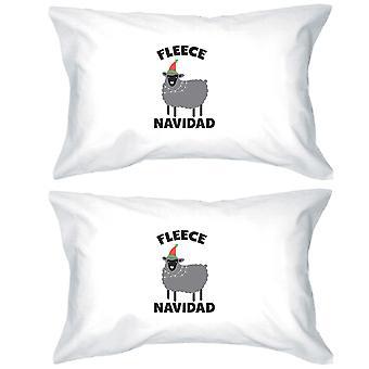 フリース ナヴィダード綿枕カバー クイーン サイズ クリスマス