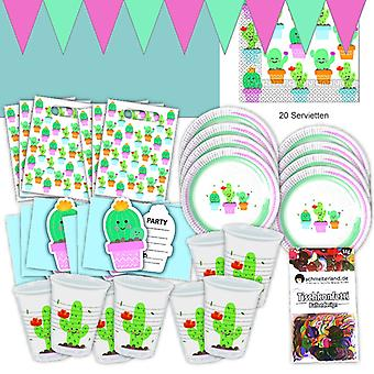 Cactus party set XL 57-teilig for 6 guests Cactus party birthday decoration party package