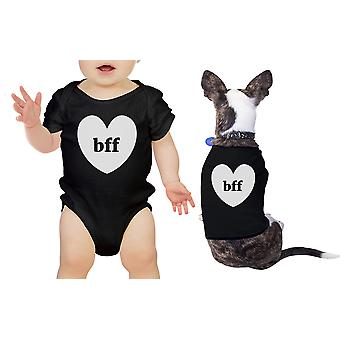 Bff Hearts Pet And Baby Matching Black Bodysuit Cute Baby Girl Gifts