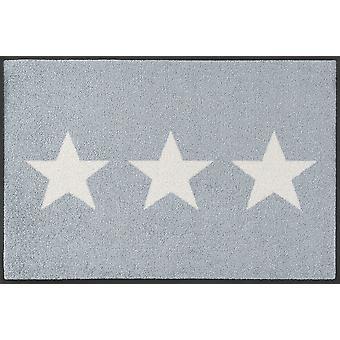 tvätt + torr matta stjärnor grå tvättbara golvmatta