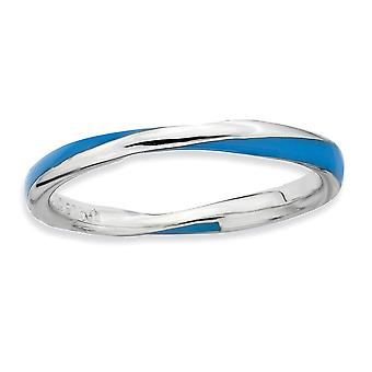 925 Sterling Silver Polished Rhodium-plated Twisted Blue Enameled 2.5 x 2.25mm Stackable Ring - Ring Size: 5 to 10