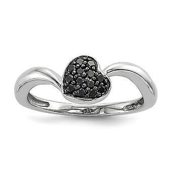 925 Sterling Silver Polished Prong set Open back Gift Boxed Rhodium plated Black Diamond Small Love Heart Ring Jewelry G