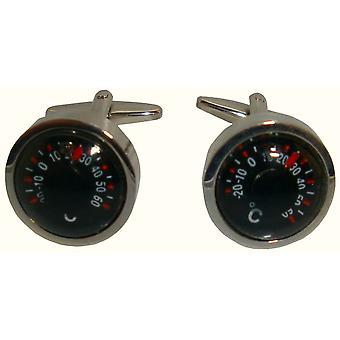 Bassin og brun termometer mansjettknapper - svart/sølv