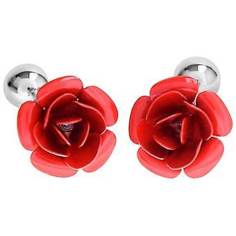 David Van Hagen smalto rosa fiore gemelli - rosso/argento