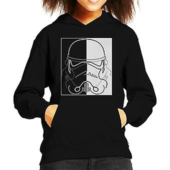 Original Stormtrooper Line Art Two Tone Helmet Kid's Hooded Sweatshirt