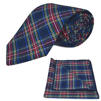 Traditional Navy Blue Tartan Tie & Pocket Square Set, Check, Plaid
