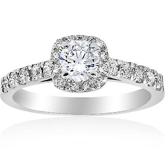 1ct Kissen Halo Diamant Verlobungsring 14K White Gold
