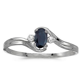 LXR 10k WitgoudEn Ovale Saffier en Diamanten Ring 0.25 ct