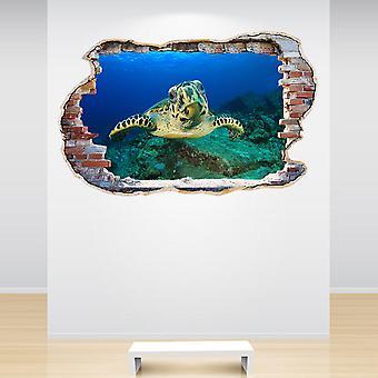 Полный цвет Hawksbill черепаха разбил стены стикер стены 3D-эффект
