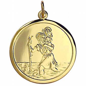 9ct Gold 25mm round St Christopher Pendant