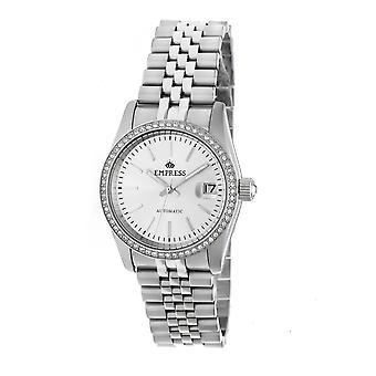 Empress Constance Automatic Bracelet Watch w/Date - Silver/White