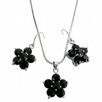 Outstanding Jewelry Onyx Crystal Flower Pendant Earrings Girl Friend Gift