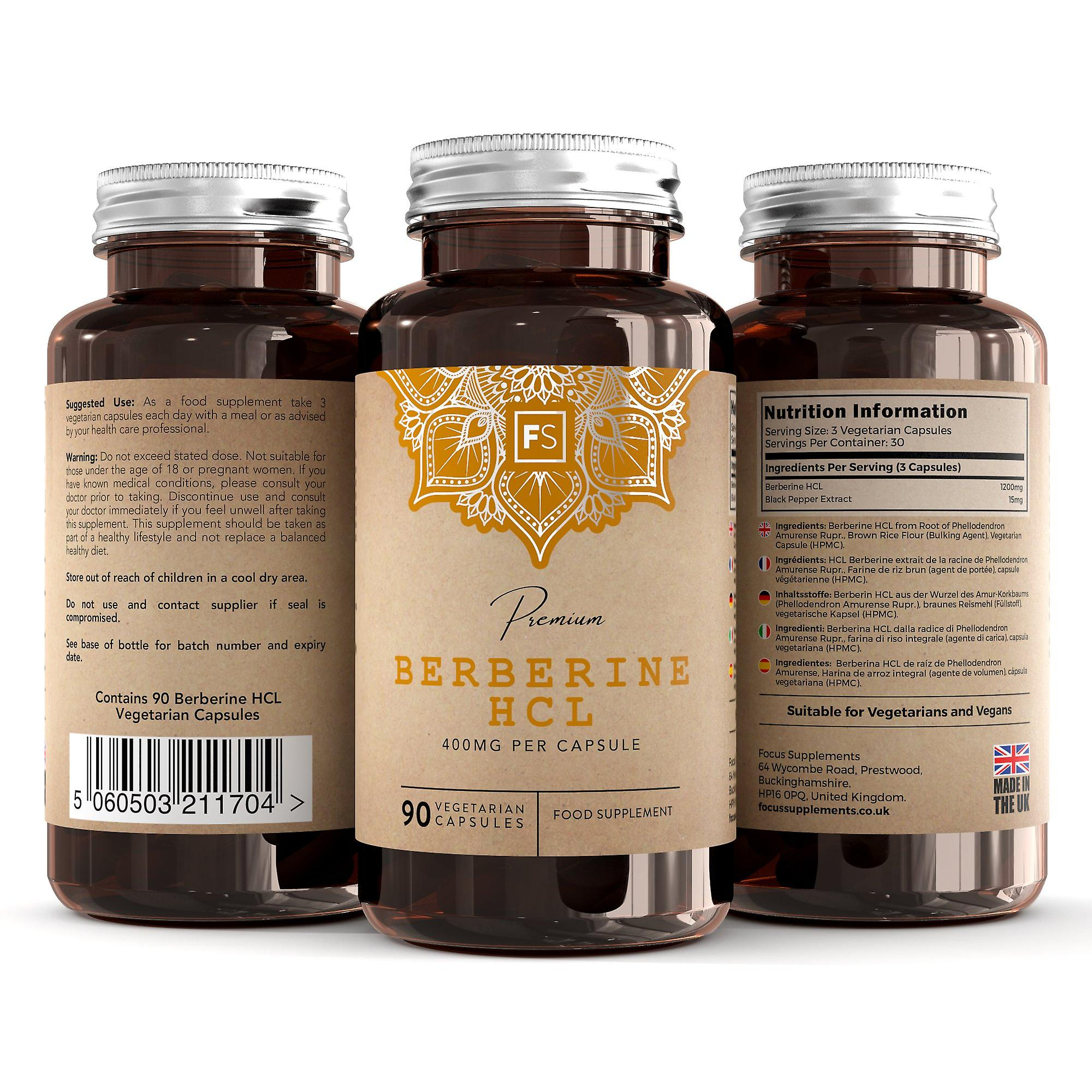 Berberine HCL (With Black Pepper Extract) 400mg - 90 Capsules