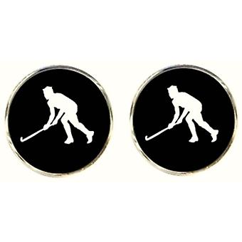 Bassin and Brown Hockey Player Cufflinks - Black/White