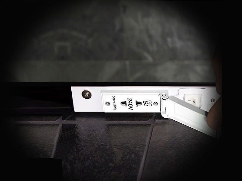 RGB Audio Double Edge Bathroom Mirror with shaver socket k51vrgbaud