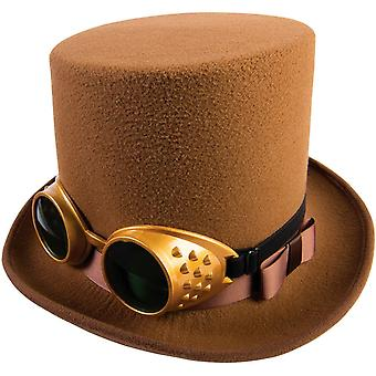 Steampunk Style Brown Hat With Goggles