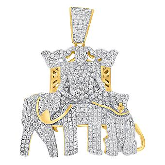 Premium Bling-925 Sterling Silver 3D Elephant Gold
