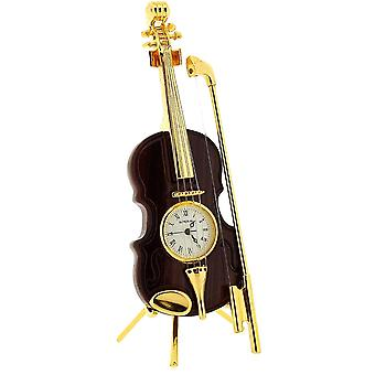 Miniature Goldtone Wood Finish Violin With Bow Novelty Collectors Clock IMP84