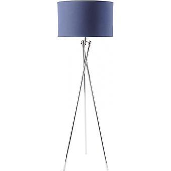 Libra möbler nickel twist stativ golv lampa med marinblå nyans