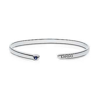 University Of Kansas Engraved Sterling Silver Sapphire Cuff Bracelet