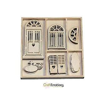 CraftEmotions - Wooden Embellishment Box - Romantic Provence - Doors, 35 pieces
