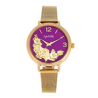 Sophie and Freda Lexington Bracelet Watch - Gold/Purple