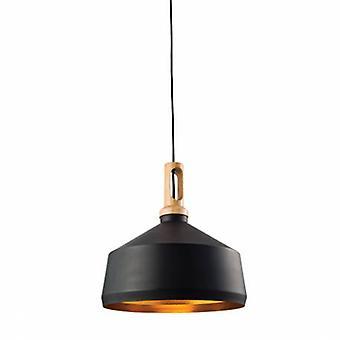 1 Light Dome Ceiling Pendant Matt Black, Light Effect Wood