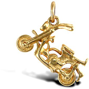 Jewelco London Solid 9ct Yellow Gold Moped Scooter Charm Pendant