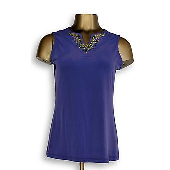 Susan Graver Women's Top XXS Liquid Knit Embellished Tank Purple A251390