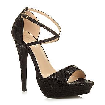 Ajvani 妇女平台高跟鞋窥视脚趾交叉带状凉鞋鞋