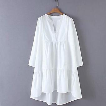 Langærmet oversize løse lommer kjole