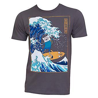 Mannen ' s Adventure time surfen op de grote golf Japanse T-shirt