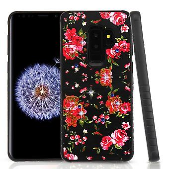 Romantic Love Flowers/Black Diamante Hybrid Protector Cover for Galaxy S9 Plus