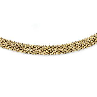 925 sterling sølv Guld-tone poleret mesh halskæde-16,0 gram-18 tommer