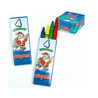 Pack of 4 Christmas Wax Crayons for Kids Crafts & Party Bags