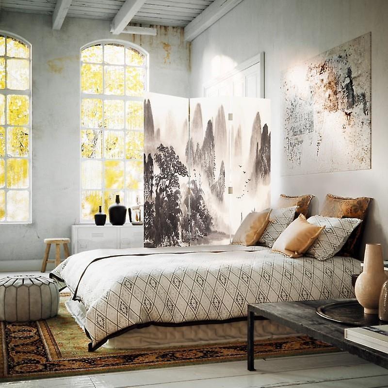 Diviseur de chambre, 3 panneaux, unilatéral, toile, paysage pittoresque de la vallée