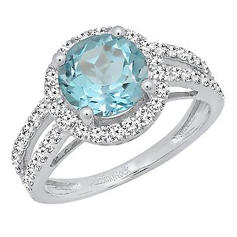 Dazzlingrock Collection Sterling Silver 8 MM Round Blue Topaz & White Diamond Halo Bridal Engagement Ring