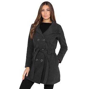 LONESJOEDAHL fastspændte dobbelt Breasted uld frakke