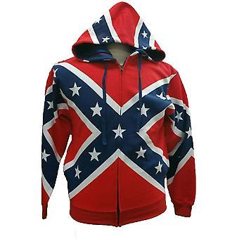 Confederate Rebel Flag Zip Up Hoodie Southern Dixie Redneck Pride