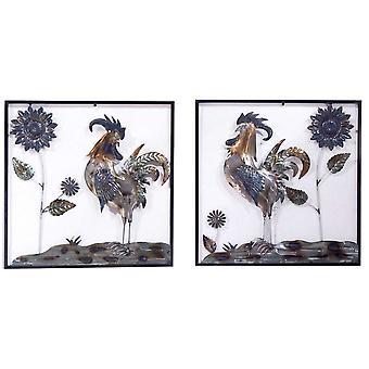 Metalizado Multicolor Roosters y Girasoles Pared Arte Set