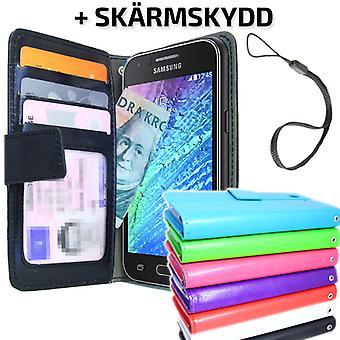 Samsung Galaxy J1 Carteira caso ID / Photo Pocket + protetor de tela