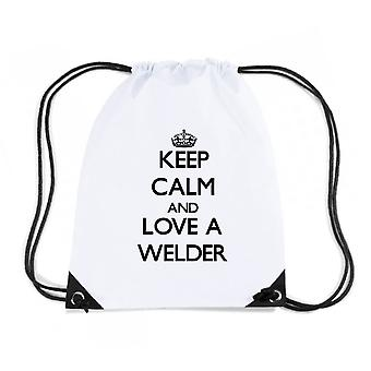 Zainetto bianco wtc0091 keep calm and love a welder