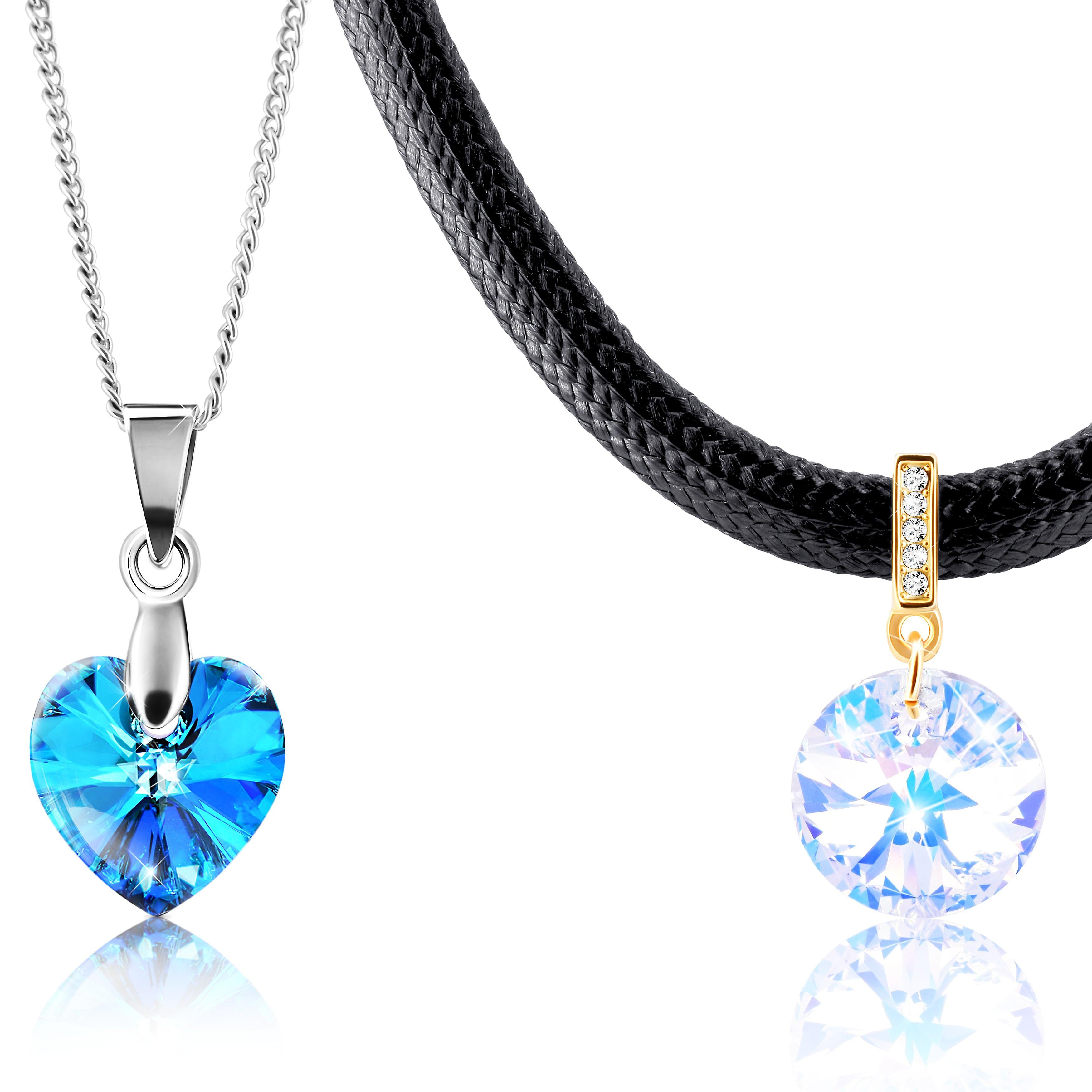 2 necklaces with swarovski crystal. 1 gold plated and 1 rhodium plated. by 2splendid. gift box included. nnqz017