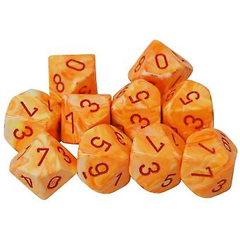 Chessex d10 Dice Set Festive Sunburst/Red